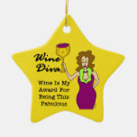 Wine Diva Custom Gold Star Mother's Day Ornament