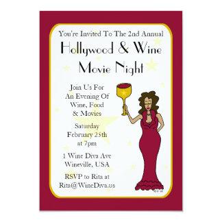 """Wine Diva Custom Movie Night Invitations 5"""" X 7"""" Invitation Card"""
