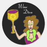 Wine Diva Dark Classic Round Sticker