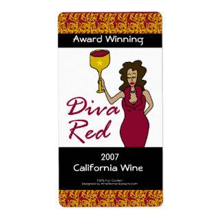 "Wine Diva ""Diva Red"" Custom Faux Wine Labels"