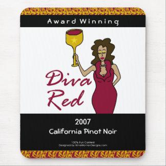 Wine Diva, Diva Red Custom Wine Label Mouse Pad
