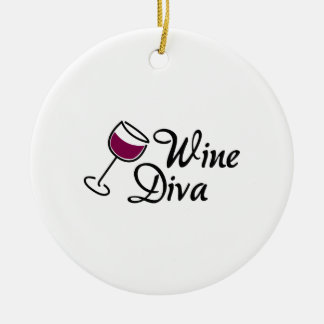Wine Diva Double-Sided Ceramic Round Christmas Ornament