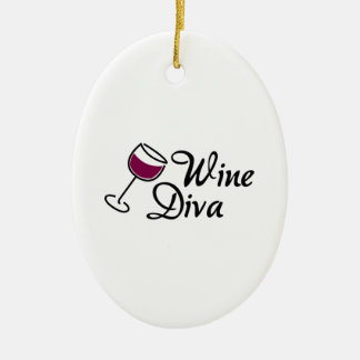 Wine Diva Double-Sided Oval Ceramic Christmas Ornament