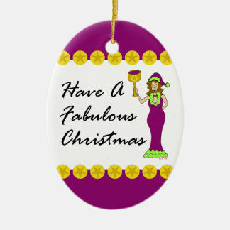Wine Diva Fabulous Christmas Gold Stars Oval Ceramic Ornament