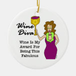 "Wine Diva ""Fabulous"" Double-Sided Ceramic Round Christmas Ornament"