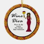 "Wine Diva ""Fabulous"" Hollywood Damask Ornament"