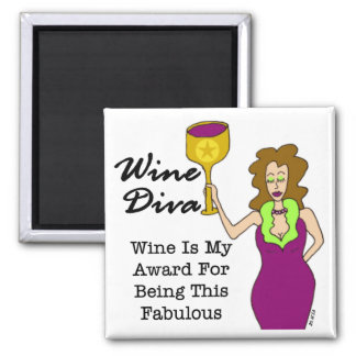 "Wine Diva ""Fabulous"" 2 Inch Square Magnet"