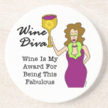 "Wine Diva ""Fabulous"" Sandstone Coaster"