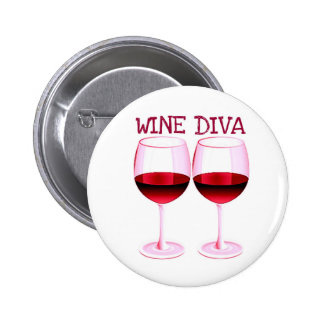 """WINE DIVA"" FUN RED WINE PRINT 2 INCH ROUND BUTTON"