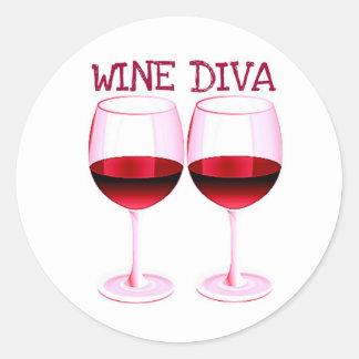 """WINE DIVA"" FUN RED WINE PRINT CLASSIC ROUND STICKER"
