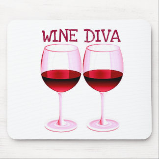 WINE DIVA FUN RED WINE PRINT MOUSE PAD