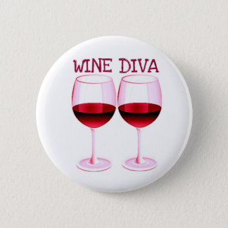 """WINE DIVA"" FUN RED WINE PRINT PINBACK BUTTON"