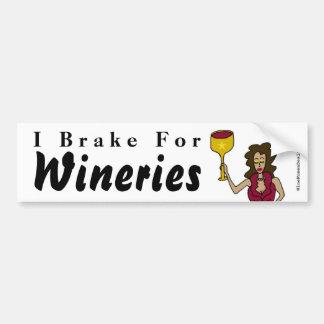 """Wine Diva """"I Brake For Wineries"""" Bumper Sticker"""