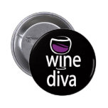 Wine Diva Pinback Buttons