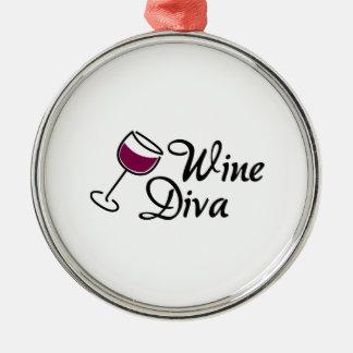 Wine Diva Round Metal Christmas Ornament