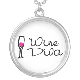 Wine Diva Round Pendant Necklace