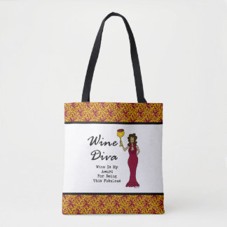 "Wine Diva ""Wine Is My Award For Being Fabulous"" Tote Bag"