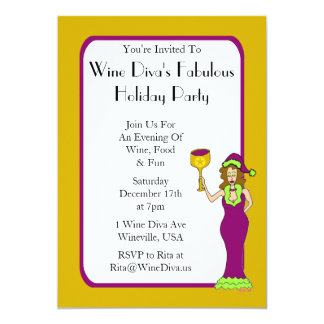 Wine Diva's Fabulous Holiday Party Personalized Invitation