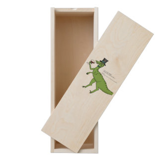 Wine Drinking Connoisseur Dinosaur Wooden Keepsake Box