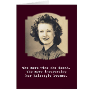 Wine Drinking Hairstyle Vintage Photo Greeting Cards