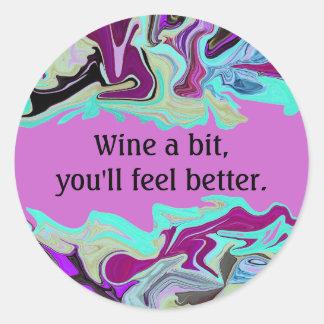 wine drinking humor classic round sticker