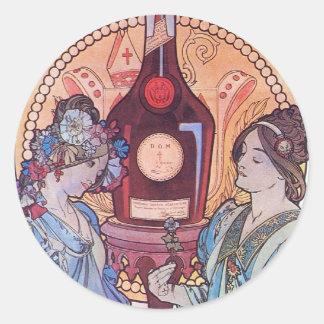 Wine Drinking Women Classic Round Sticker