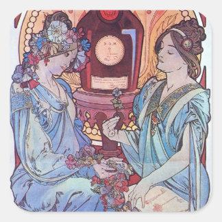 Wine Drinking Women Square Sticker