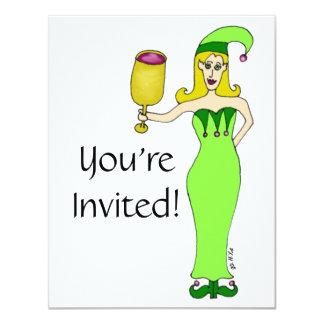 "Wine Elf ""Drink & Be Merry"" Invitations"