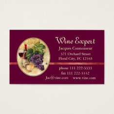 Wine Expert Business Card at Zazzle
