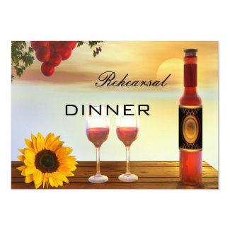 Wine Fall Wedding Rehearsal Dinner Invitation