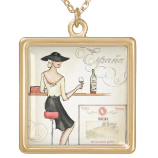 Wine Fashionista Gold Plated Necklace