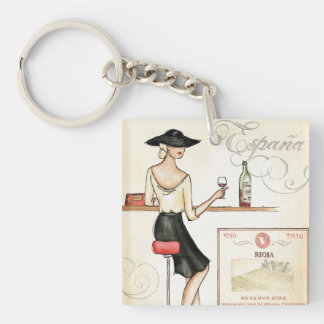 Wine Fashionista Double-Sided Square Acrylic Keychain
