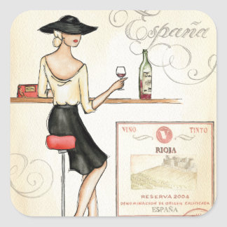 Wine Fashionista Square Sticker