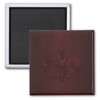 Wine Fleur de Lis 2 Inch Square Magnet