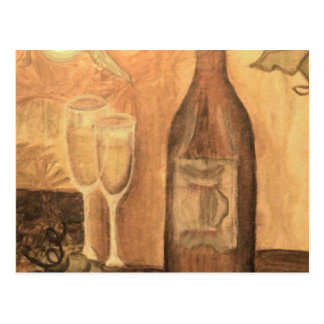 Wine for two, in Bronze Postcard