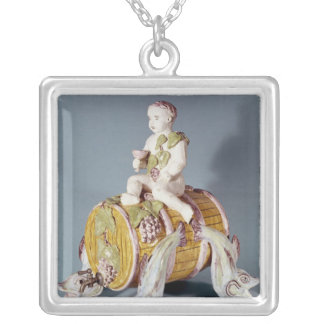Wine fountain in the shape silver plated necklace