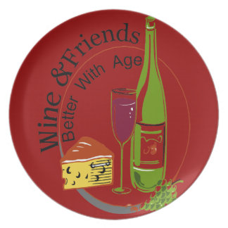 Wine & Friends Better With Age Dinner Plate