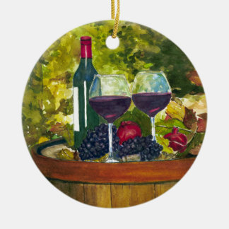 Wine: Fruit of the Vine Double-Sided Ceramic Round Christmas Ornament