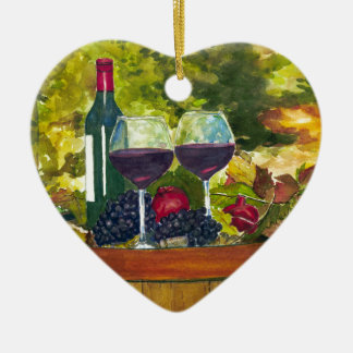 Wine: Fruit of the Vine Double-Sided Heart Ceramic Christmas Ornament