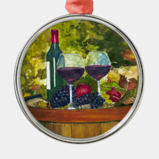 Wine: Fruit of the Vine Round Metal Christmas Ornament