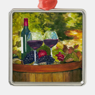 Wine: Fruit of the Vine Square Metal Christmas Ornament