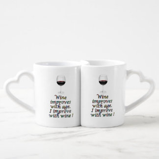 Wine funny text coffee mug set