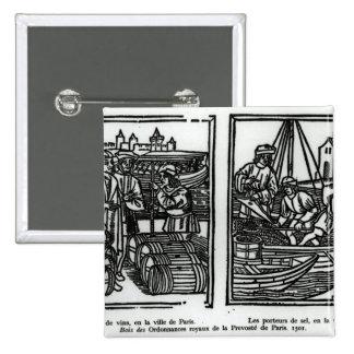 Wine gaugers and salt merchants, 1501 pinback button