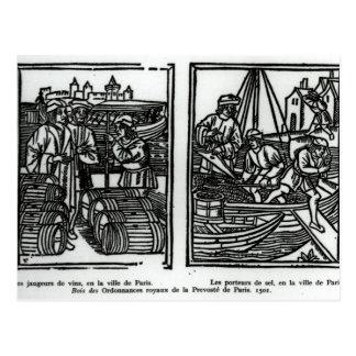 Wine gaugers and salt merchants, 1501 postcard