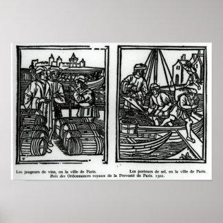 Wine gaugers and salt merchants, 1501 poster