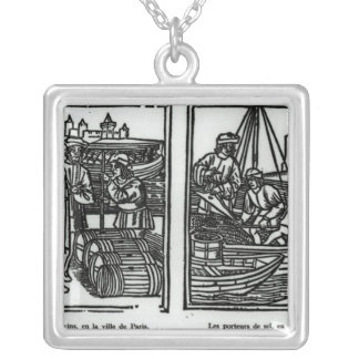 Wine gaugers and salt merchants, 1501 silver plated necklace