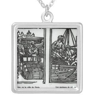 Wine gaugers and salt merchants, 1501 square pendant necklace