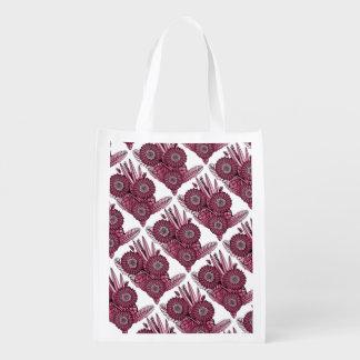 Wine Gerbera Daisy Flower Bouquet Grocery Bag