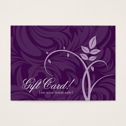 Wine Gift Card Certificate Leaf Swirl Purple Vine