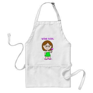 wine girl adult apron